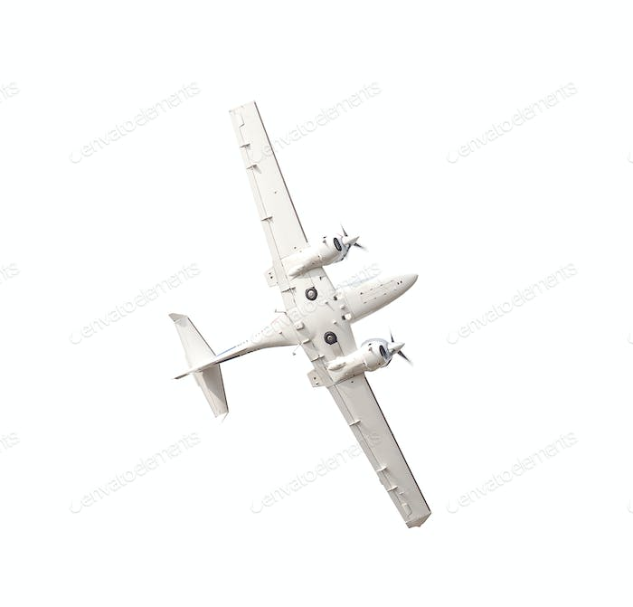 White airplane isolated on white background