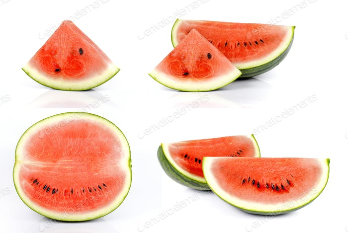 Watermelons cut pieces on white background.