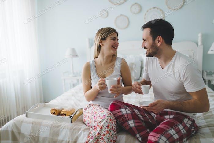 Couple enjoying their romantic morning