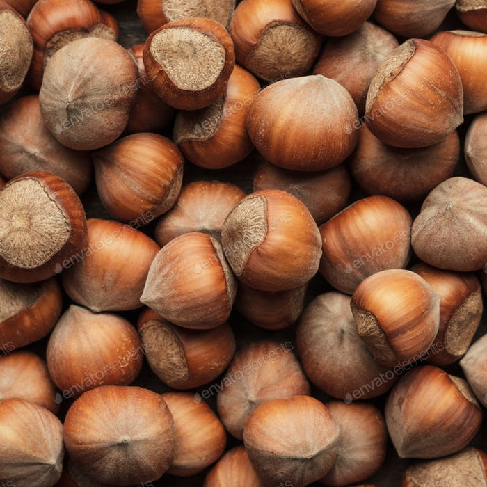 Hazelnuts On The Brown Wooden Table
