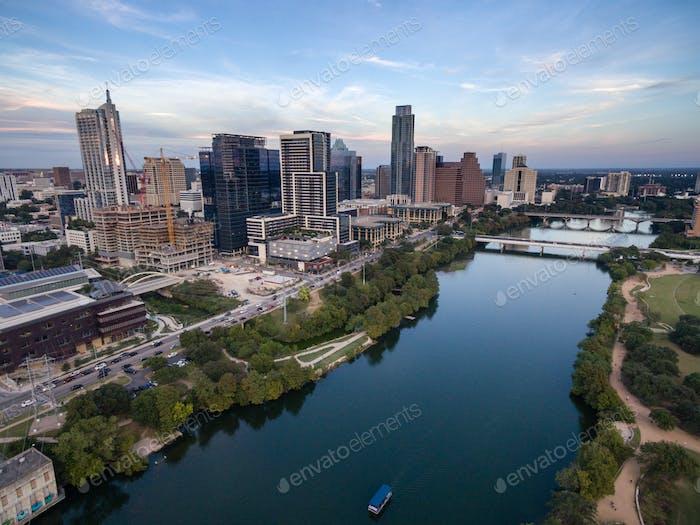 Austin City Skyline Near First Street Bridge Colorado River
