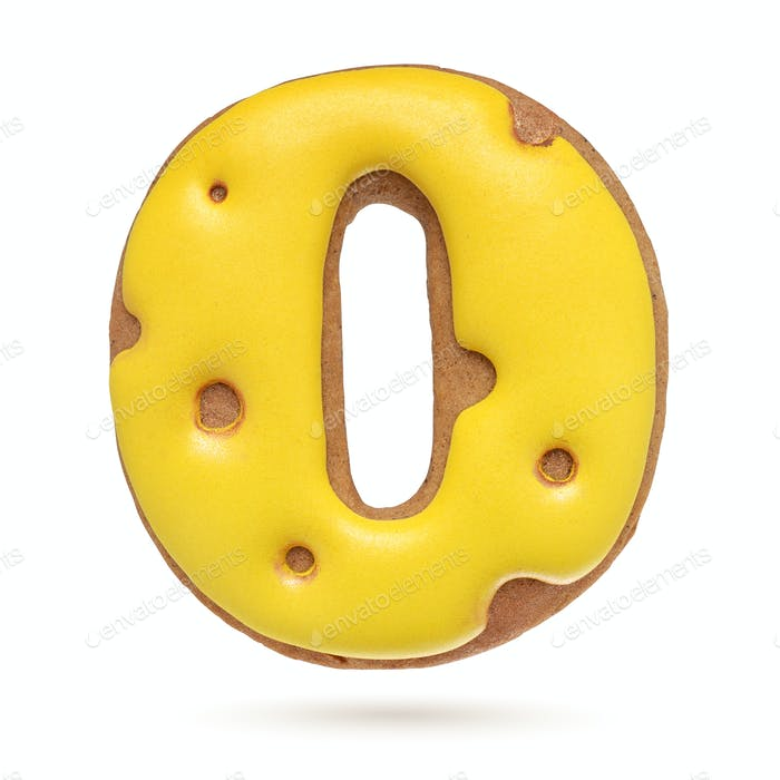 Capital letter O yellow gingerbread biscuit isolated on white.