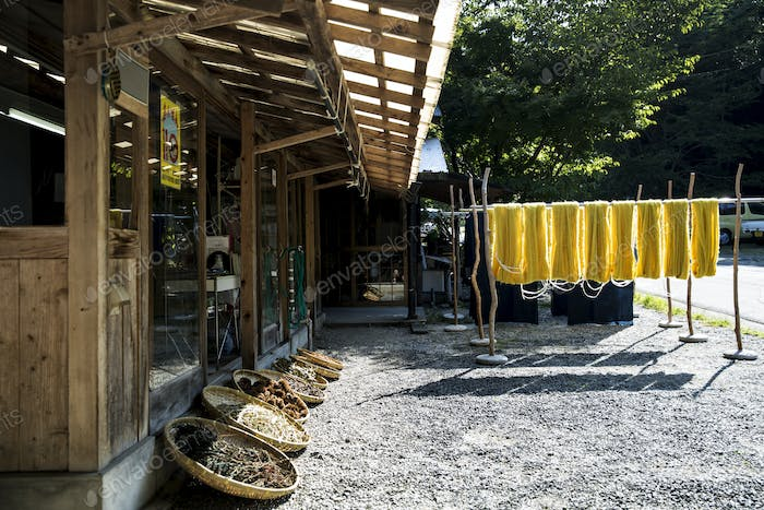 Exterior view of textile plant dye workshop, with yellow fabric hanging in the sun to dry and