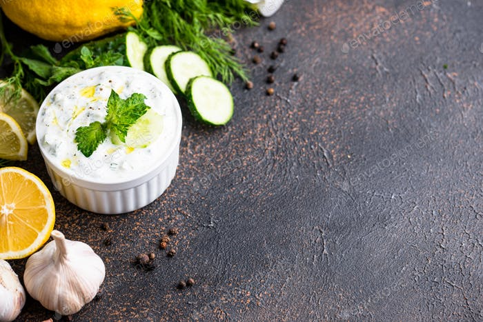 Traditional Greek sauce or appetizer tzatziki