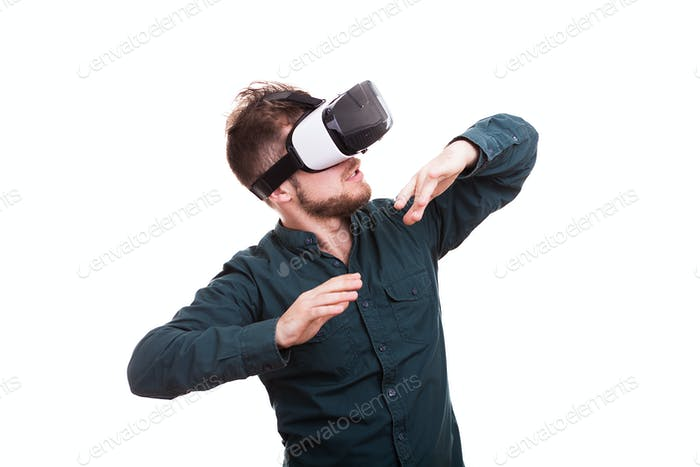 Cool looking guy wears a VR headset
