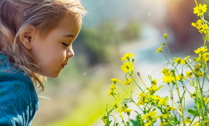 Baby enjoying nature