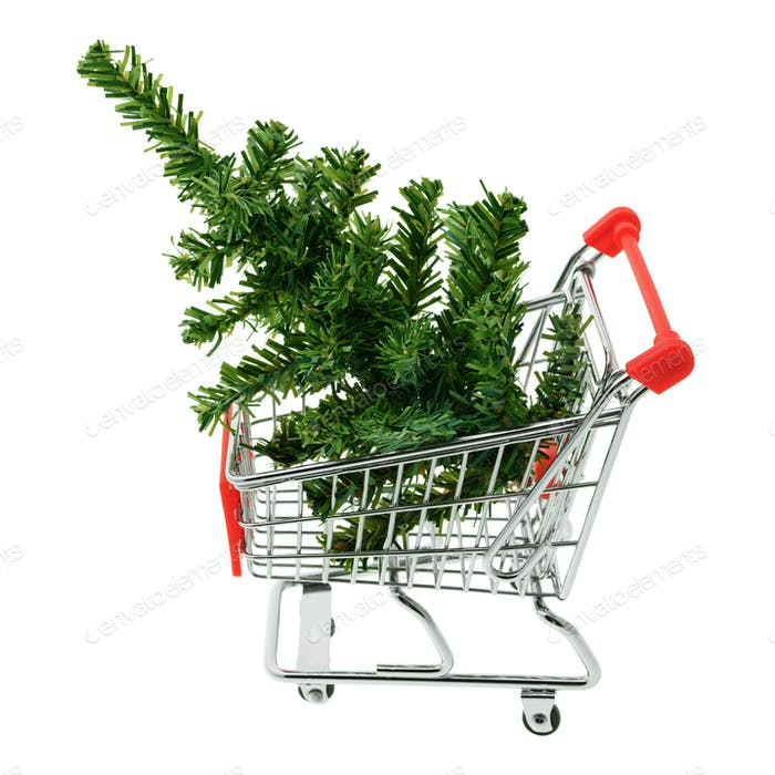 Christmas tree in a shopping cart