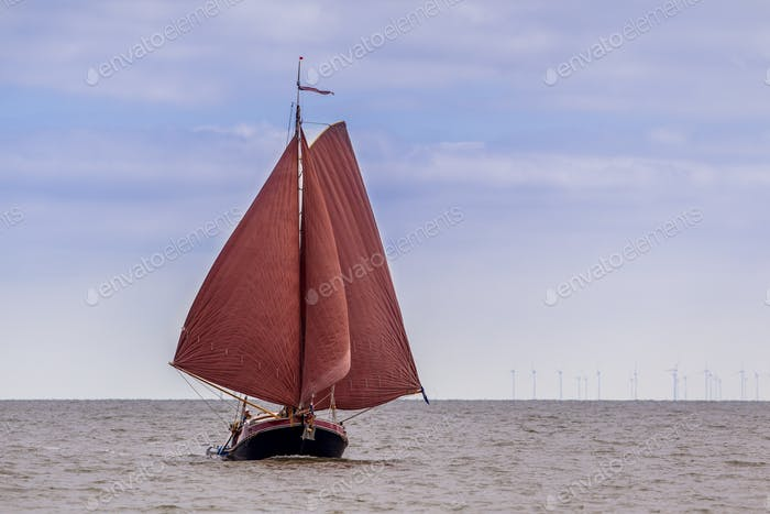 Tradional Dutch flatbottom sailing boat
