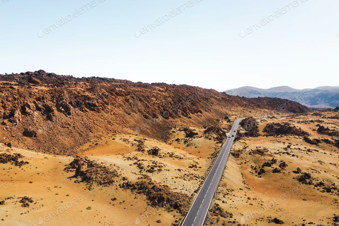 Mars the red planet's desert landscape. Teide National Park. Beautiful view of the Teide volcano