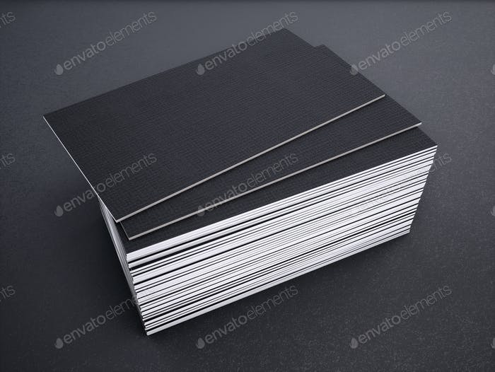 Close-up of business card on a black background. 3d rednering.