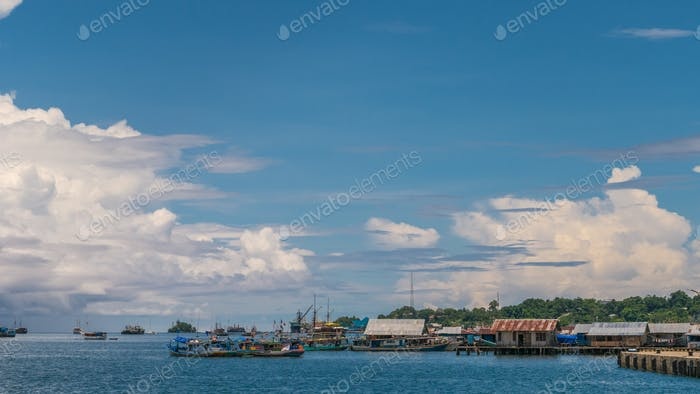 Pier to Farry in Waisai, Waigeo, Raja Ampat, West Papua, Indonesia