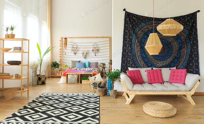 Colorful fully furnished bedroom
