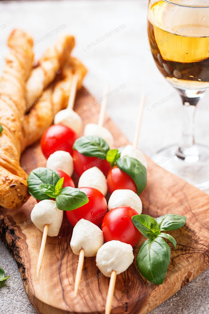 Caprese skewers and grissini bread