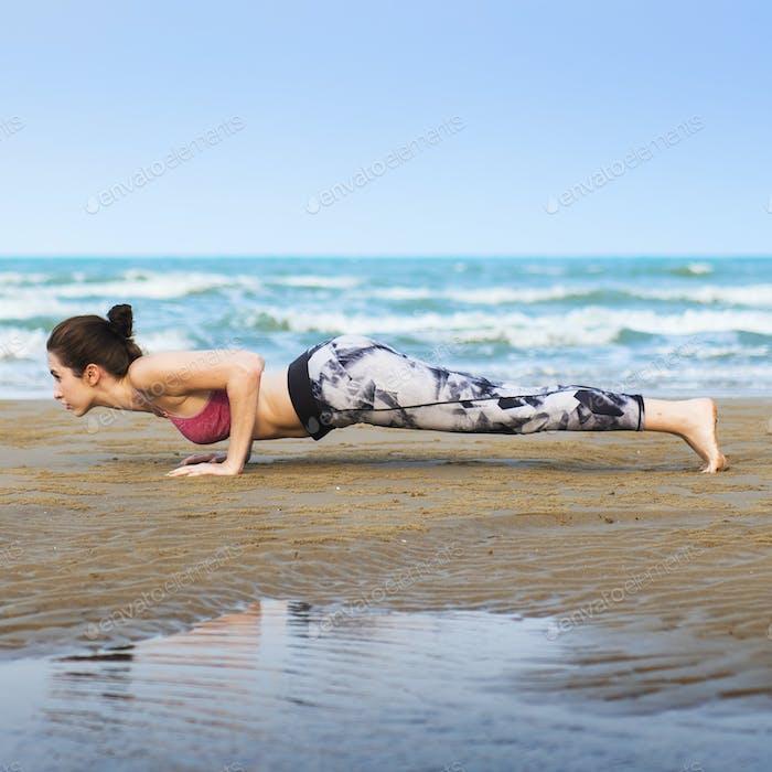 Woman Planking Stretching Flex Training Healthy Lifestyle Beach Concept
