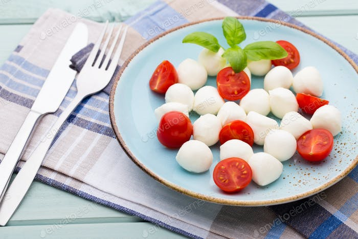 Italian traditional caprese salad ingredients.