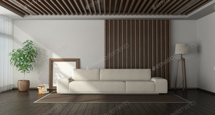 Minimalist living room with wooden paneling on background