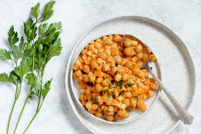Ditalini pasta with chickpeas
