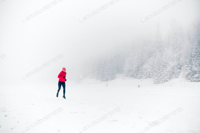 Winter running on snow in white forest and mountains