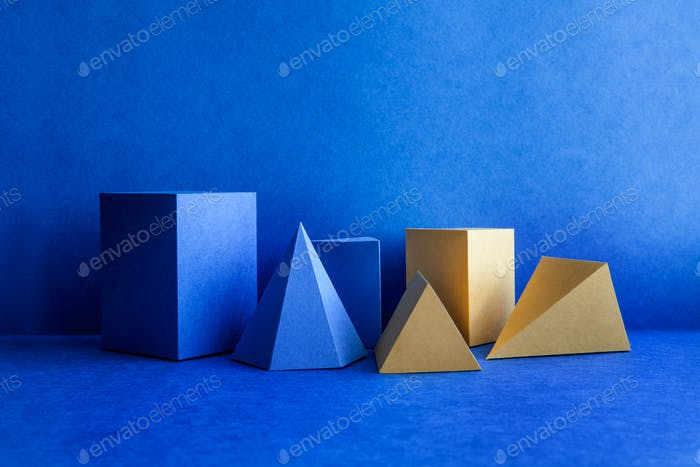 Geometrical figures on blue background