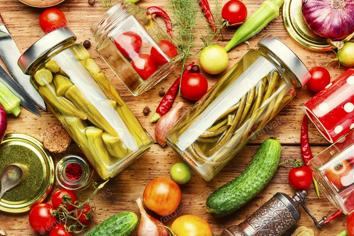 Assortment of preserved vegetable