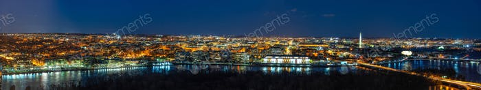 Panorama Top view scene of Washington DC down town which can see United states Capitol, washington