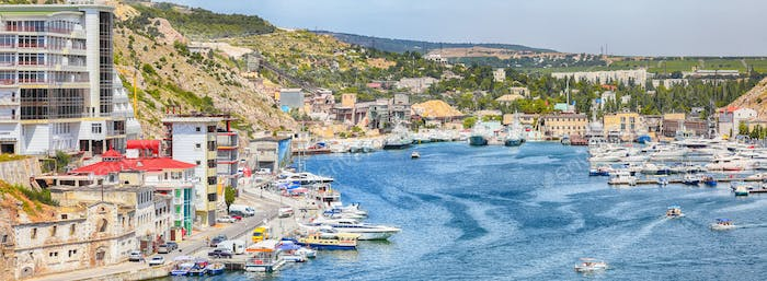 View of Balaklava bay with yachts from the Genoese fortress Chembalo in Sevastopol city.