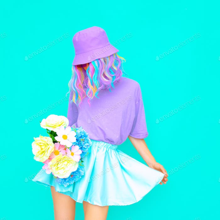 Fresh Summer Lady look. Vanilla flowers Girl  Candy colors design trends