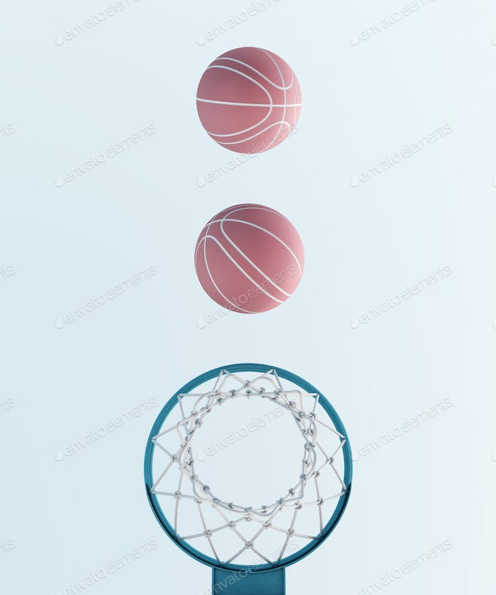 abstract pastel pink blue color basketball hoop and balls minimalistic symmetry composition. Balance