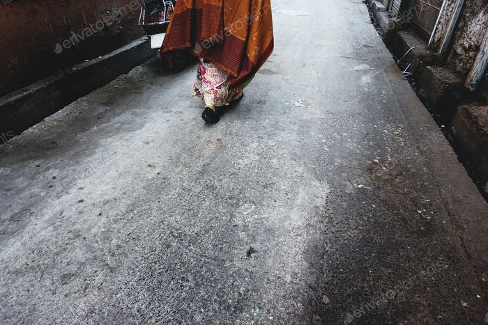 Rajasthani woman walking in the street