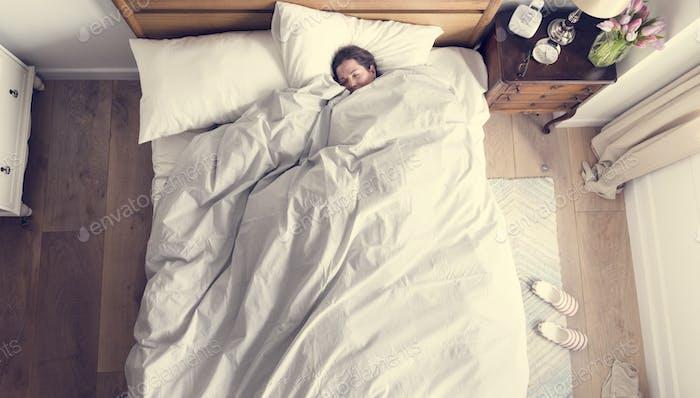 Caucasian woman sleeping soundly