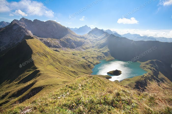 mountain peak around Schrecksee lake