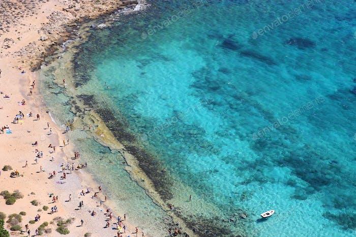 Meerblick am Strand von der Festung, Gramvousa, Kreta, Griechenland