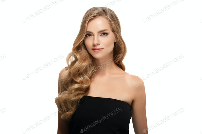 Healthy beauty make up skin woman with blonde hairstyle