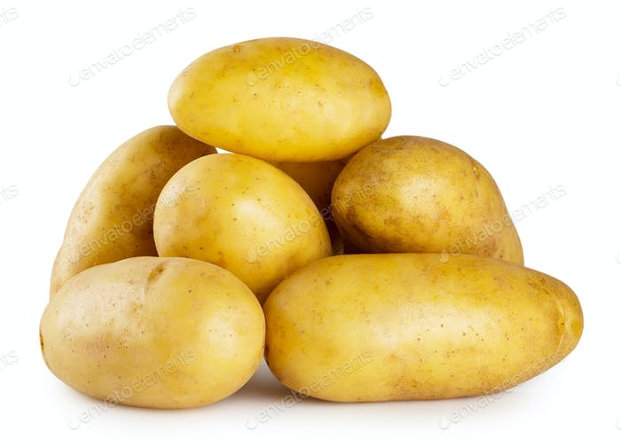 Pile of young potatoes isolated on white background