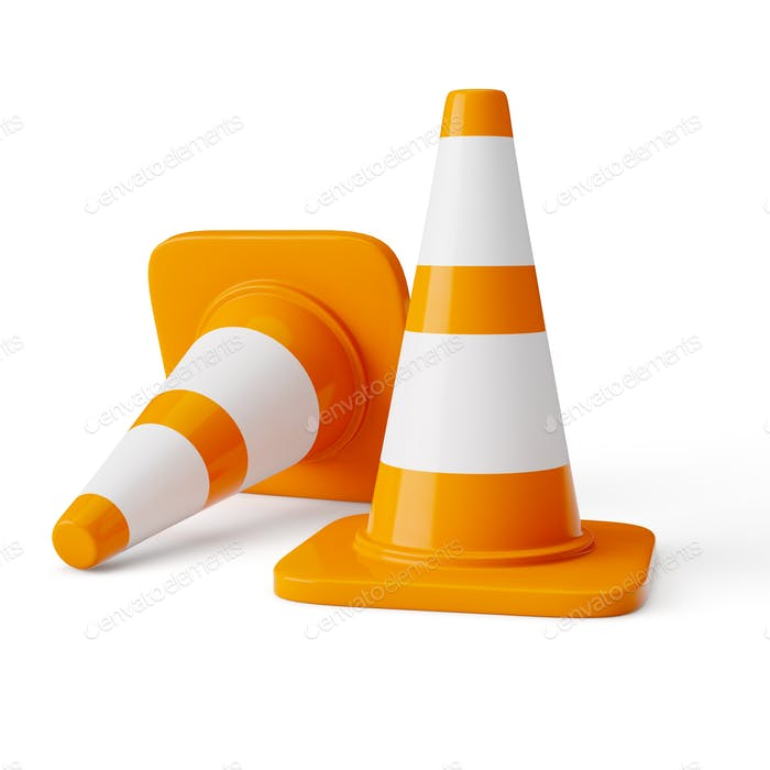 Orange highway traffic construction cones