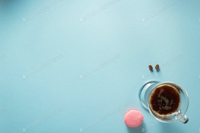 cup of coffee at blue background