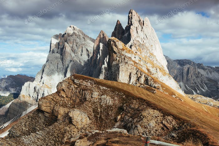Crazy cliffs. Outstanding hills of the Seceda dolomite mountains at daytime