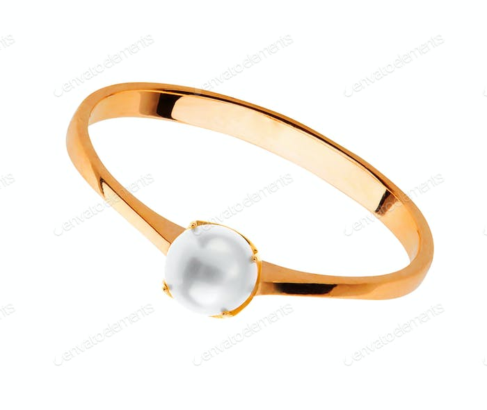 Golden Wedding Ring with pearl