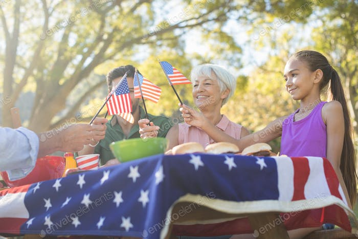 Family holding american flags while having meal in the park