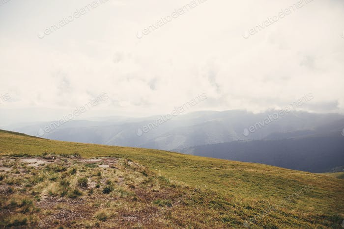 Beautiful view of green hills in Carpathian mountains