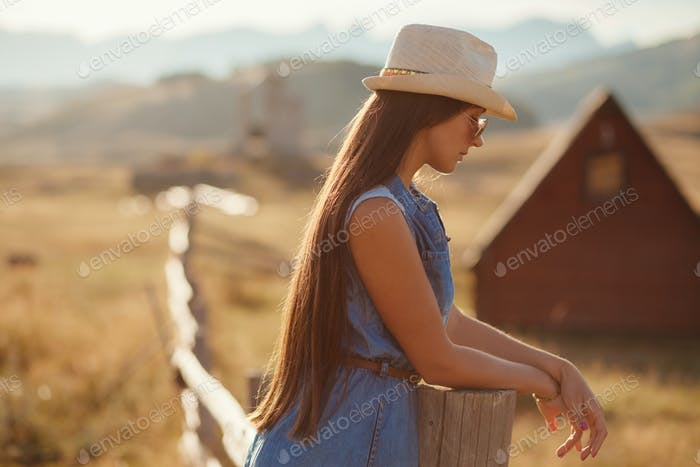 portrait of woman at countryside