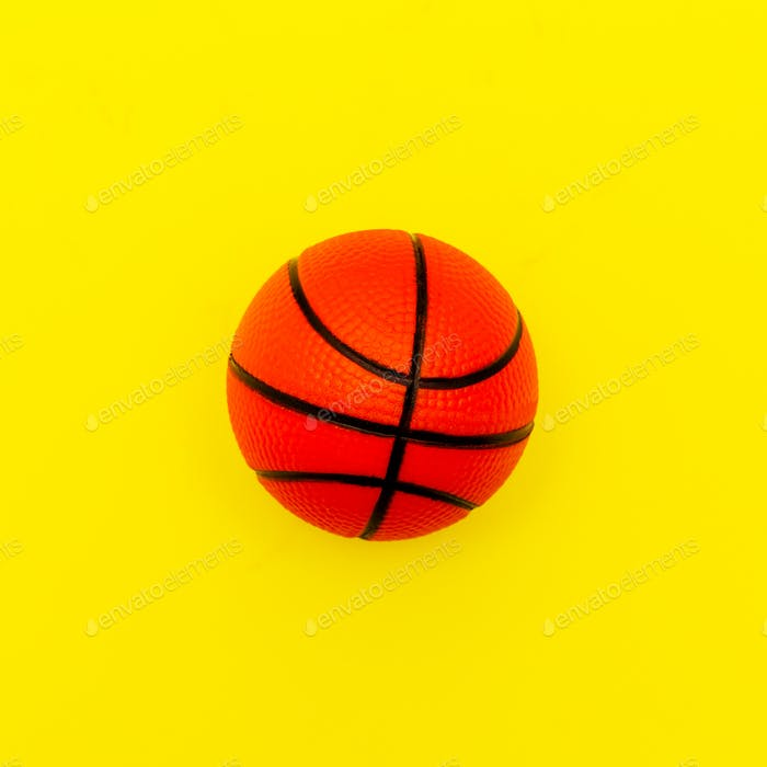 Basketball on a yellow background Minimal style