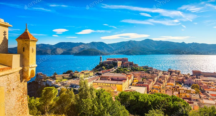 Elba island, Portoferraio aerial view from fort. Lighthouse and