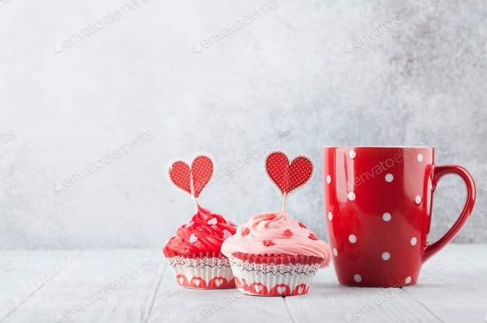 Delicious cupcakes and coffee cup