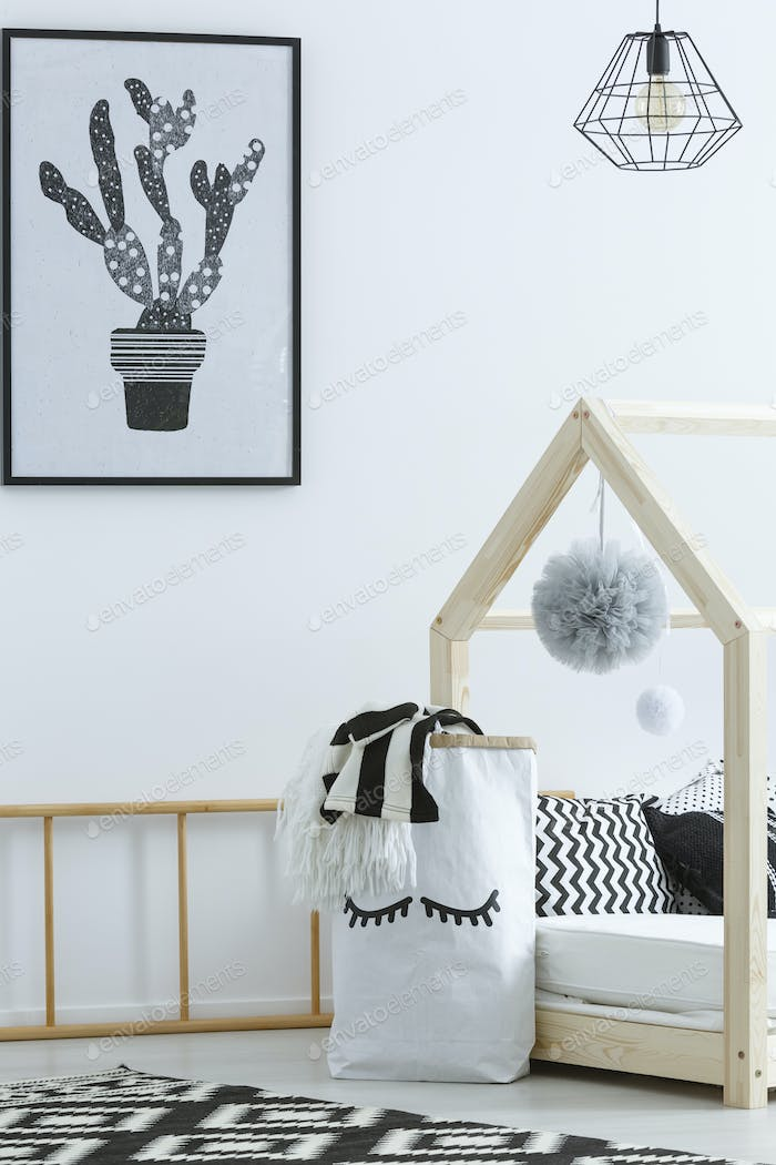 Black and white room for kid