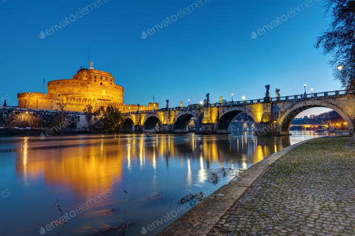 The Castel Sant Angelo and the Sant Angelo bridge