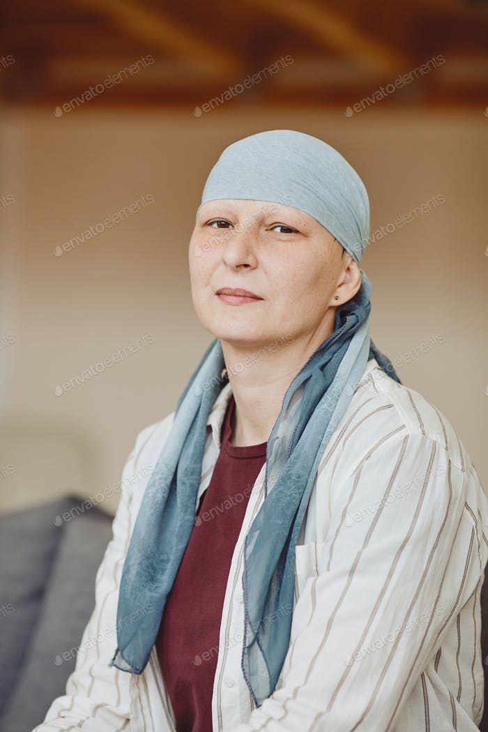 Bald Woman Wearing Headscarf