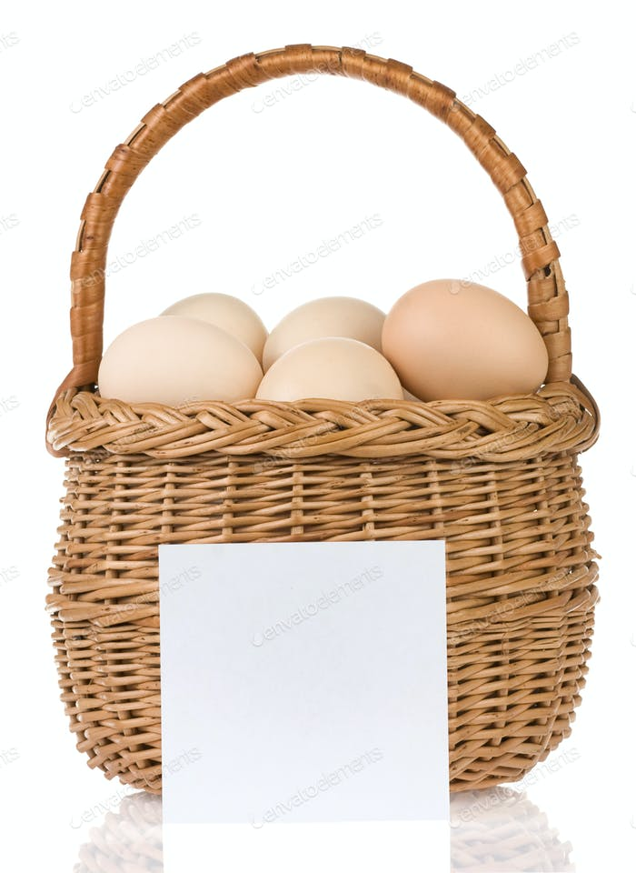 eggs and basket with price tag