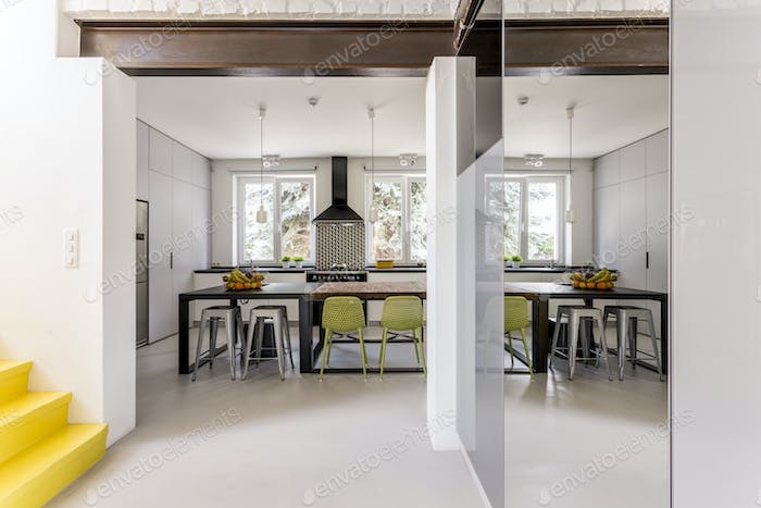 Modern dining room with different tables