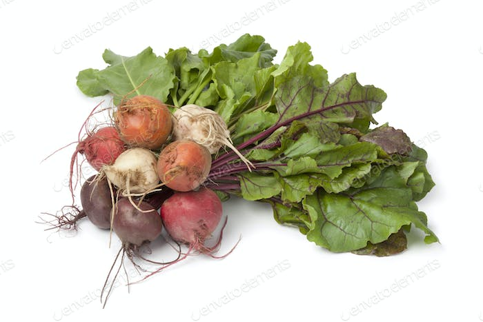 Bunch of fresh mixed color beets
